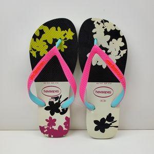 Havaianas Floral Slim Flip Flops Sizes 9/10 and 11